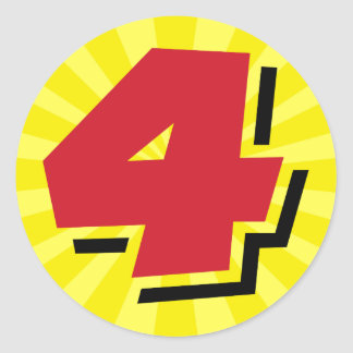 4th birthday super hero party theme and gifts classic round sticker