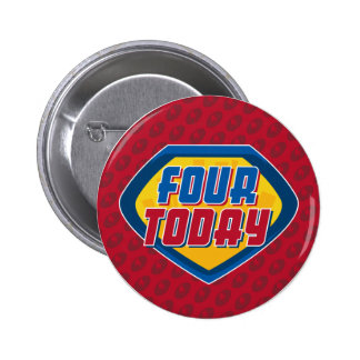 4th Birthday Superhero Button Badge