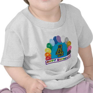 4th Birthday T-Shirt with Balloon Arch