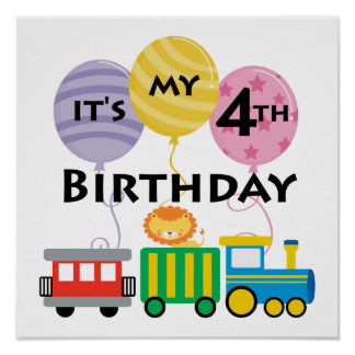 4th Birthday Train Birthday Poster