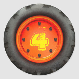 4th Birthday Truck Party Classic Round Sticker