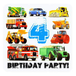 4th Birthday Truck Party Personalized Announcements