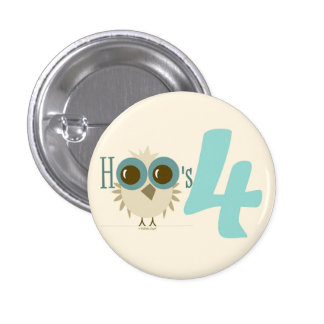 4th Birthday Turquoise Baby Owl Birthday Party Fav Buttons