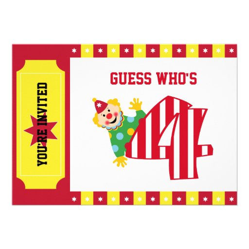 4th Birthday Waving Circus Clown Invitation