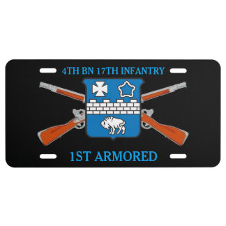 4TH BN 17TH INFANTRY 1ST ARMORED LICENSE PLATE