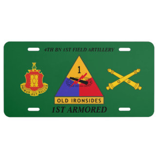 4TH BN 1ST FIELD ARTY 1ST ARMORED LICENSE PLATE
