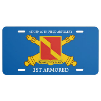 4TH BN 27TH FIELD ARTY 1ST ARMORED LICENSE PLATE