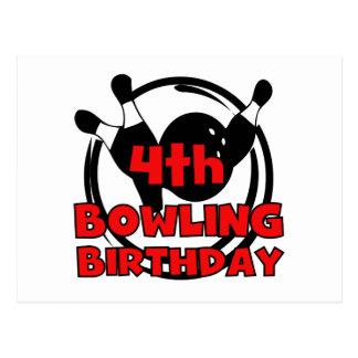 4th Bowling Birthday Tshirts and Gifts Postcard
