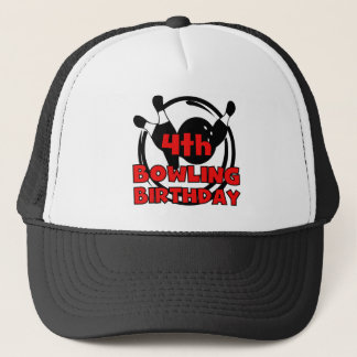 4th Bowling Birthday Tshirts and Gifts Trucker Hat