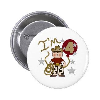 4th Cowboy Birthday Pinback Button