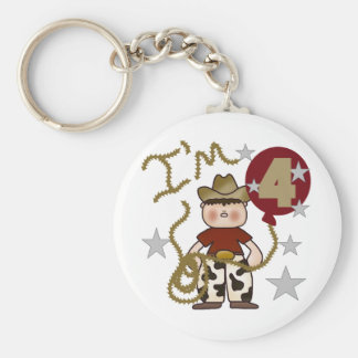 4th Cowboy Birthday Tshirts and Gifts Basic Round Button Keychain