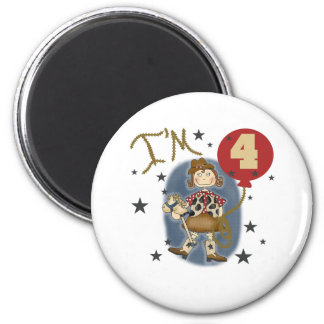 4th Cowgirl Birthday Magnets