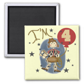 4th Cowgirl Birthday Tshirts and Gifts Refrigerator Magnets