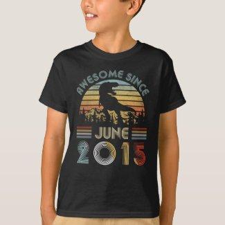 4th Dinosaur Birthday Boy 4 Year Old June 2015 T-Shirt