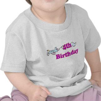 4th fourth birthday aeroplane banner t-shirt