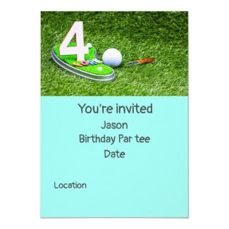 4th Golf birthday Par tee party with number 4 Invitation