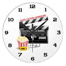4th Grade Movie Clapboard Large Clock