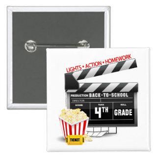 4th Grade Movie Clapboard Pinback Button
