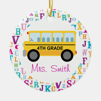 4th Grade Personalized School Bus Teacher Ornament