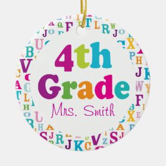 4th Grade Personalized School Teacher Ornament