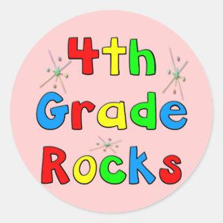 4th Grade Rocks Classic Round Sticker
