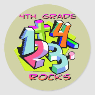 4th Grade Rocks - Numbers Classic Round Sticker