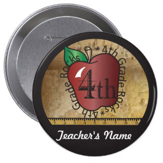 4th Grade Rocks Vintage Style Button
