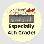 4th Grade School is Cool Tshirts and Gifts Classic Round Sticker