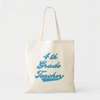 4th Grade Teacher Blue Tshirts and Gifts Canvas Bags