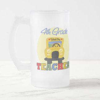 4th Grade Teacher Gift 16 Oz Frosted Glass Beer Mug