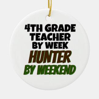4th Grade Teacher Hunter Ceramic Ornament