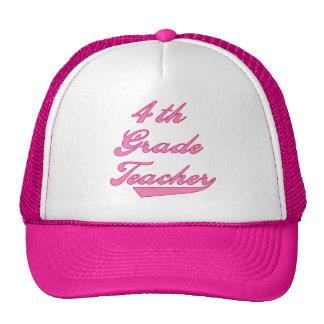 4th Grade Teacher Pink Text Tshirts Trucker Hat