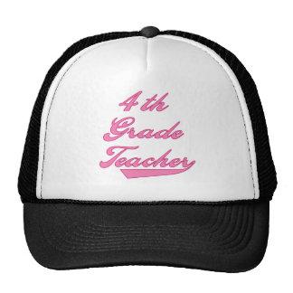 4th Grade Teacher Pink Text Tshirts Trucker Hats