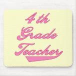 4th Grade Teacher Pink Text Tshirts Mousepads