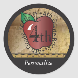 4th Grade Teacher Rocks Vintage Style | DIY Name Classic Round Sticker