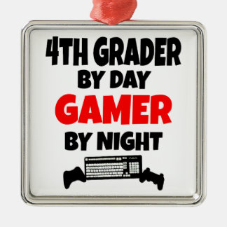 4th Grader by Day Gamer by Night Square Metal Christmas Ornament