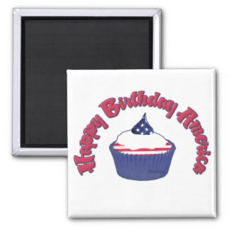 4th Happy Birthday Cupcake 2 Inch Square Magnet
