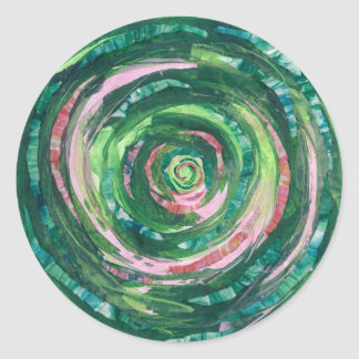 4th-Heart Chakra Green-Pink Artwork #2 Classic Round Sticker