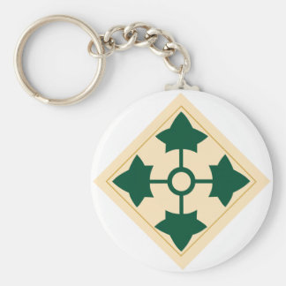 4th Infantry Division Basic Round Button Keychain