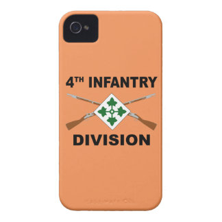 4th Infantry Division - Crossed Rifles - With Text iPhone 4 Cover