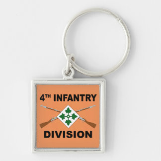 4th Infantry Division - Crossed Rifles - With Text Keychain