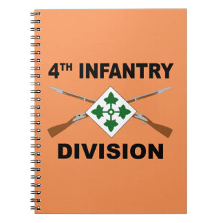 4th Infantry Division - Crossed Rifles - With Text Notebook