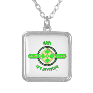 "4TH INFANTRY DIVISION ""THE IVY DIVISION"" SILVER PLATED NECKLACE"