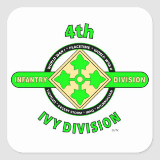 """4TH INFANTRY DIVISION """"THE IVY DIVISION"""" SQUARE STICKER"""