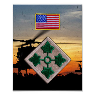 4th Infantry Division Veterans Vets Patch Print
