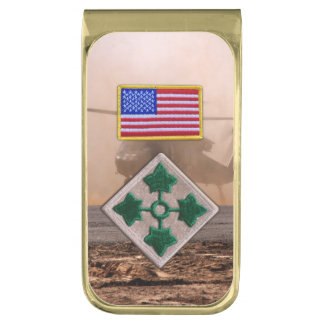 4th infantry fort carson veterans vets patch gold finish money clip