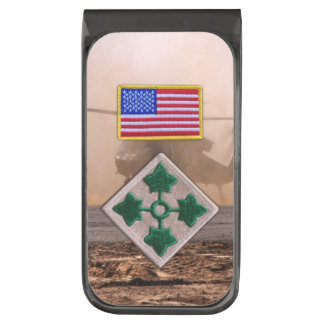 4th infantry fort carson veterans vets patch gunmetal finish money clip