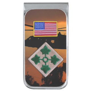 4th infantry fort carson veterans vets patch silver finish money clip