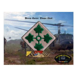 4th infantry vietnam nam war vets patch postcard
