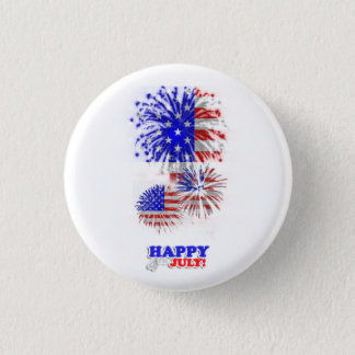 4th July American Flag Fireworks Button